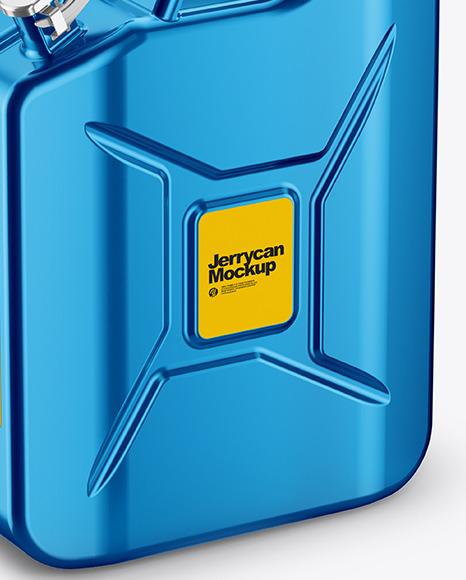 Metallic Fuel Jerrycan Mockup - Half Side View (High-Angle Shot)