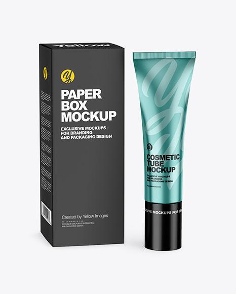Metallic Cosmetic Tube w/ Box Mockup