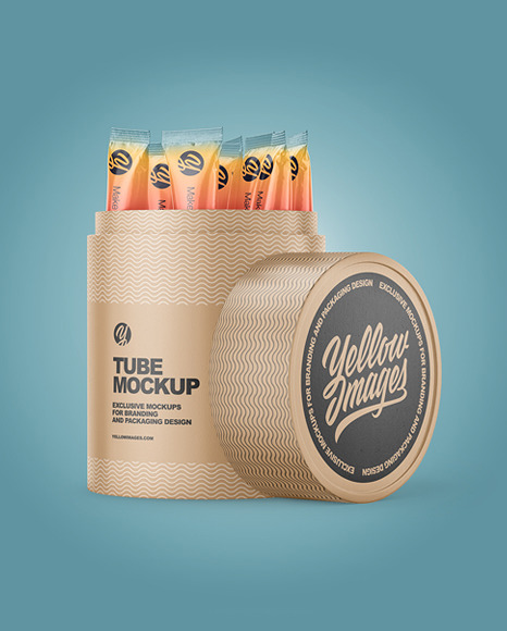 Opened Matte Paper Tube With Sachets Mockup
