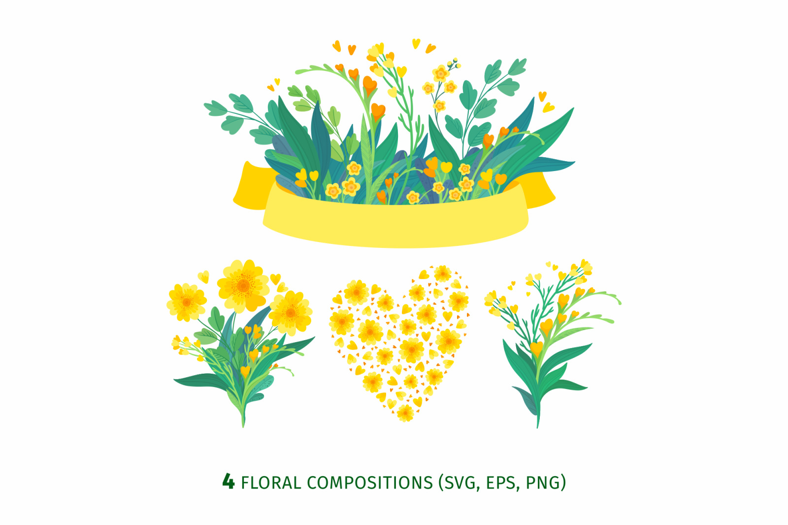 Yellow flowers clipart. Spring nature, flower bouquet svg, png, eps