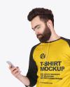 Man in Raglan 3/4 Sleeves Shirt Mockup