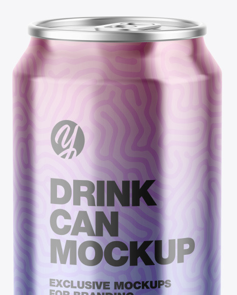 Glossy Metallic Drink Can Mockup