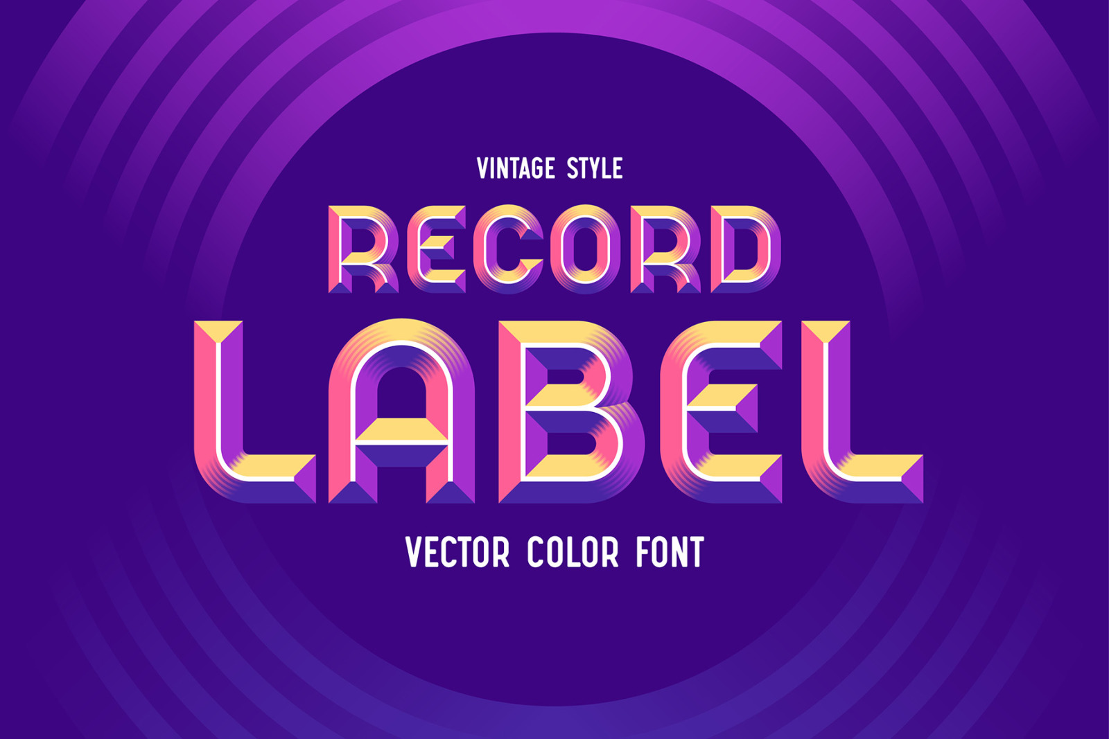 Record Label - Color Vector Font