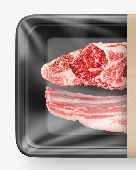 Plastic Tray w/ Raw Lamb Chops Mockup