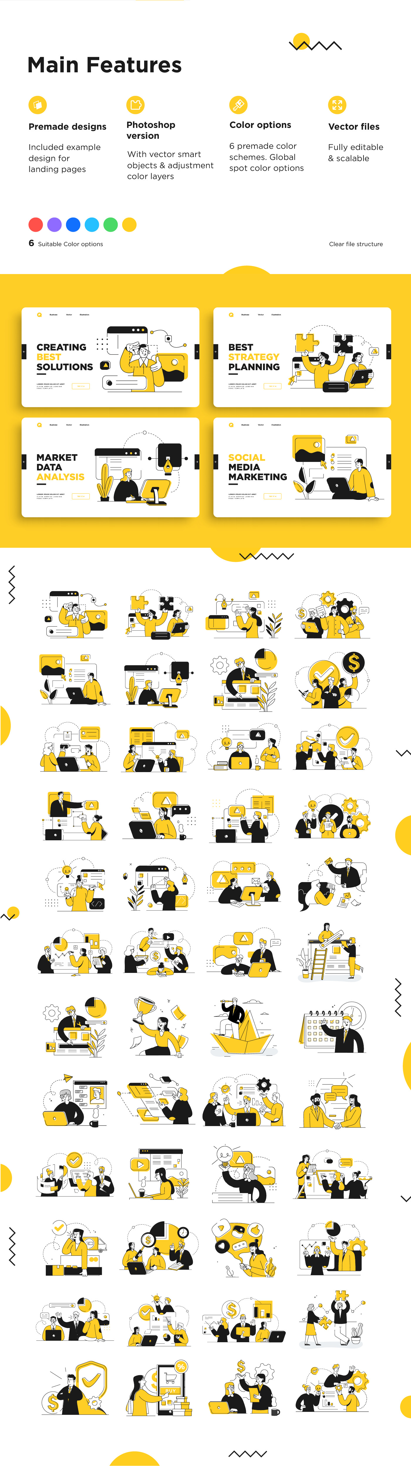 Business Marketing Illustrations in outline style.