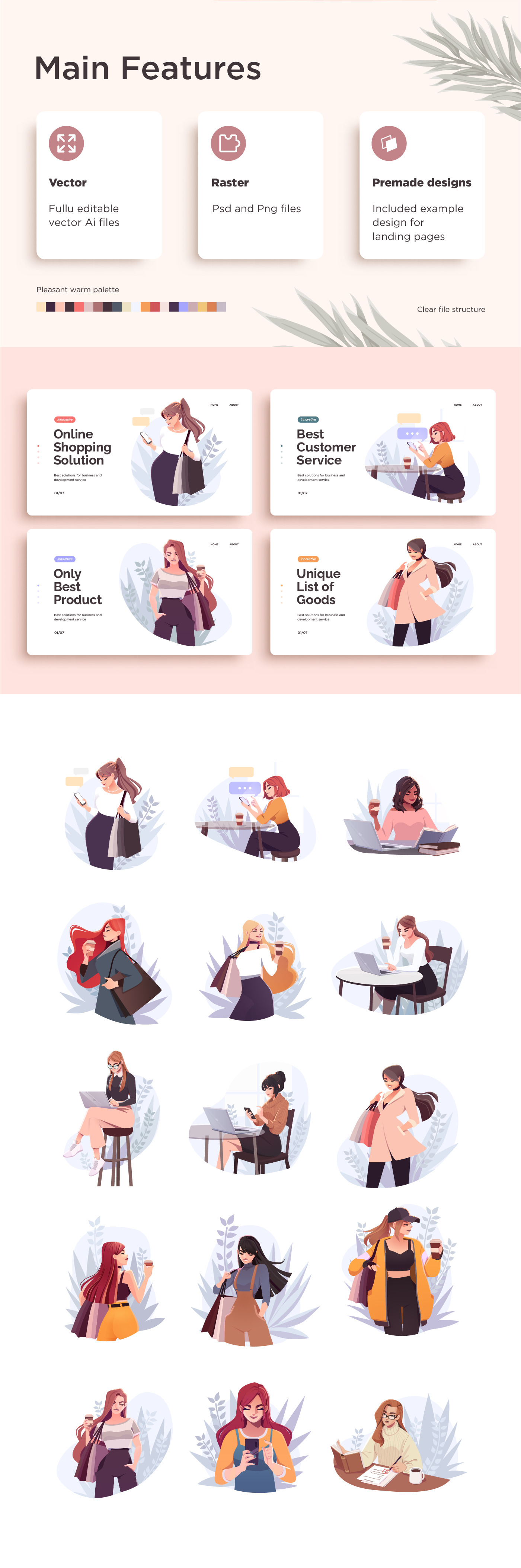 Yong modern women characters set. Working, education and shopping concept.