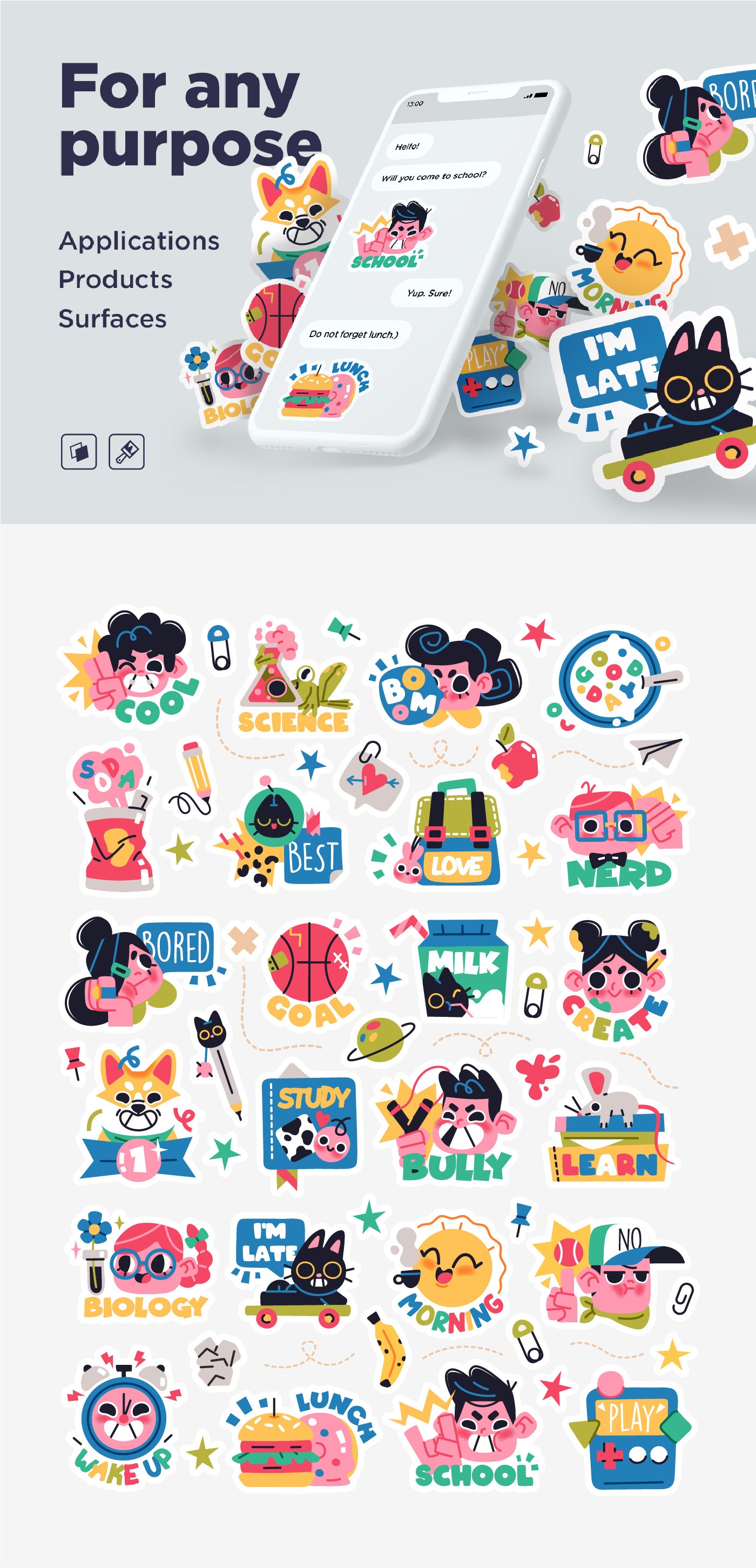 Collection of School stickers or badges with happy children, school supplies and decorations