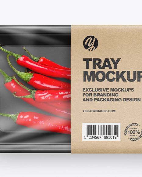 Plastic Tray W/ Chili Peppers Mockup