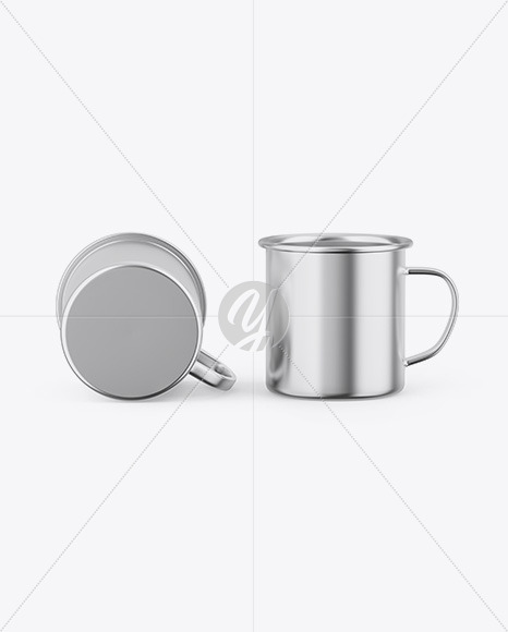 Two Glossy Metallic Cups Mockup