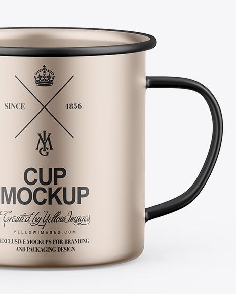 Two Matte Metallic Cups Mockup