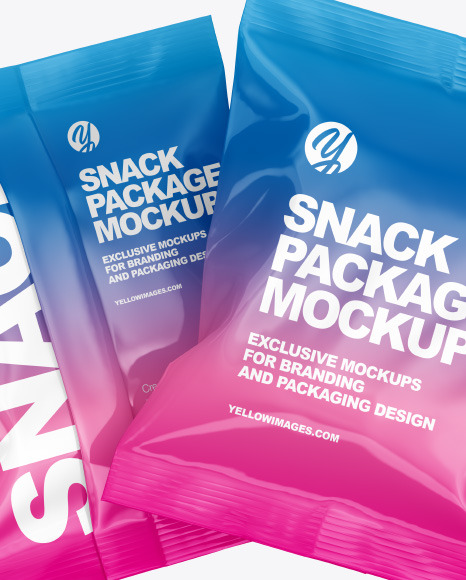 Two Glossy Snack Package Mockup