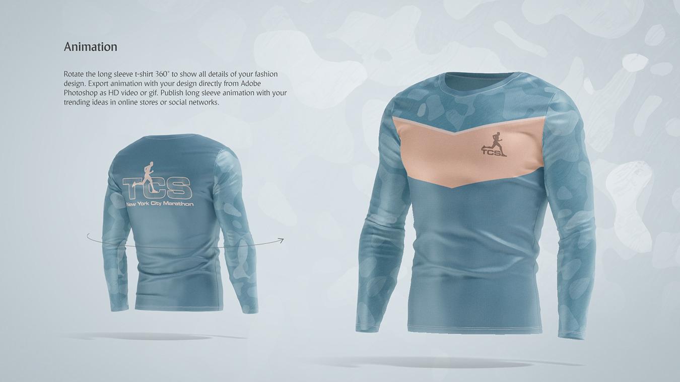 Long Sleeve T-shirt Animated Mockup
