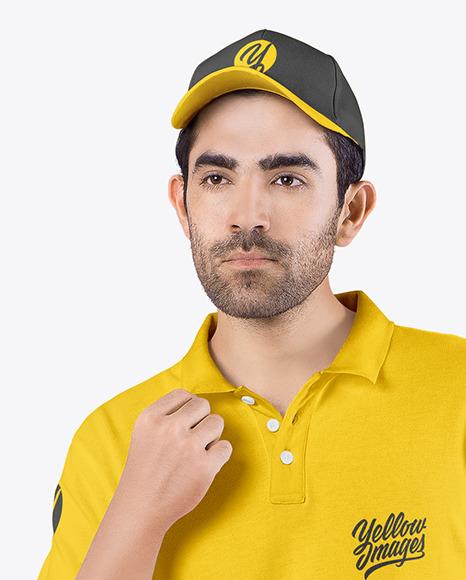 Man w/ Bag in Polo Shirt Mockup