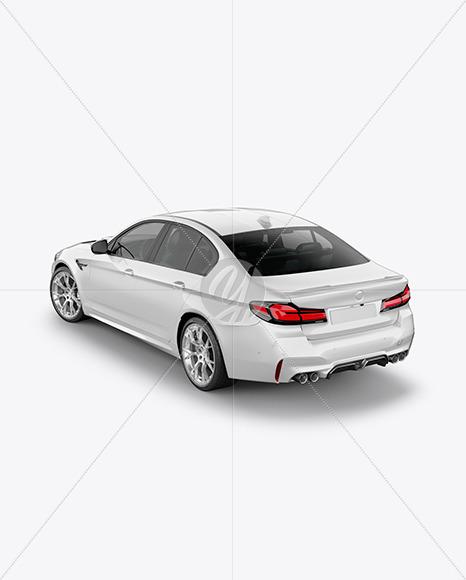 Executive Car Mockup - Back Half Side View (High-Angle Shot)