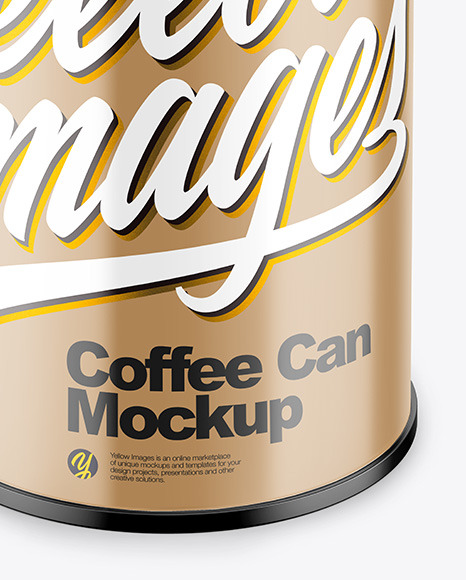Coffee Tin Can with Glossy Finish Mockup