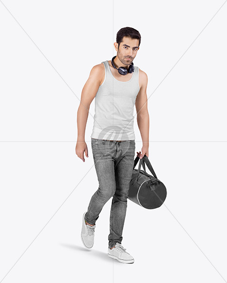 Man w/ Bag in Tank Top Mockup