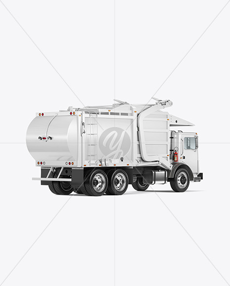 Garbage Truck Mockup - Back Half Side View - Yellowimages Mockups
