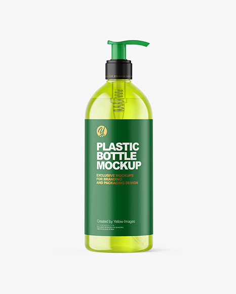 500ml Color Plastic Cosmetic Bottle with Pump Mockup