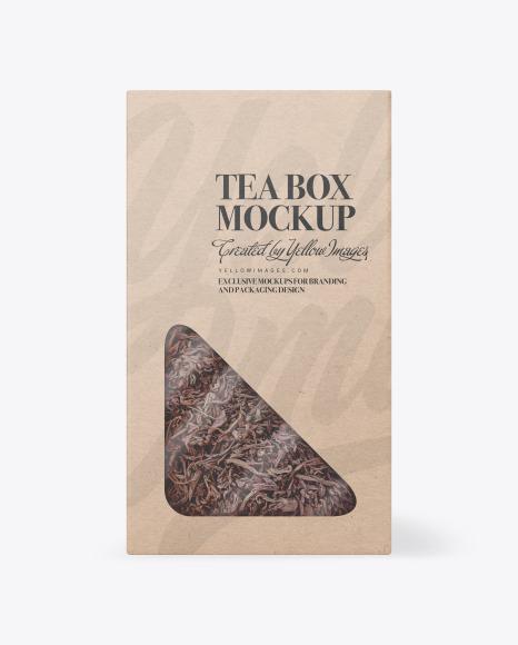 Kraft Paper Box with Tea Mockup