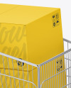Shopping Cart W/ Paper Boxes Mockup