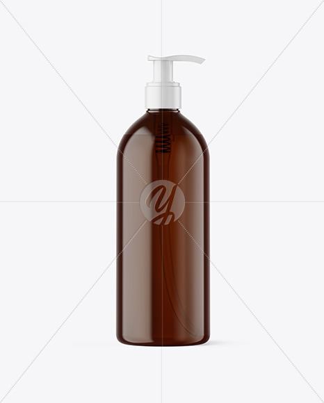 500ml Amber Cosmetic Bottle with Pump Mockup