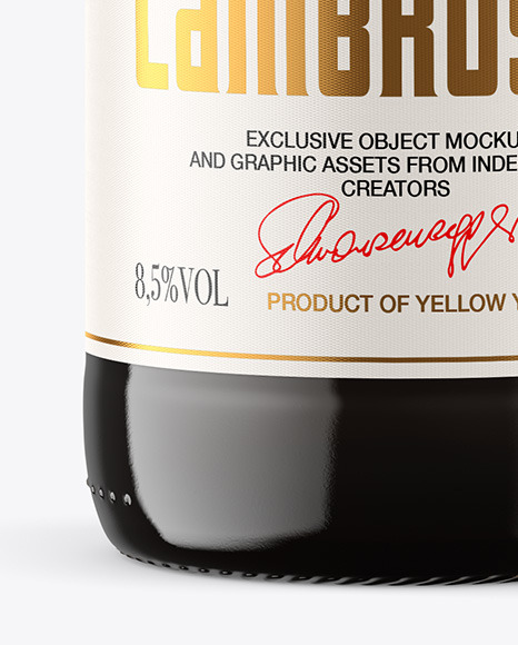 Amber Glass Bottle w/ Red Wine Mockup