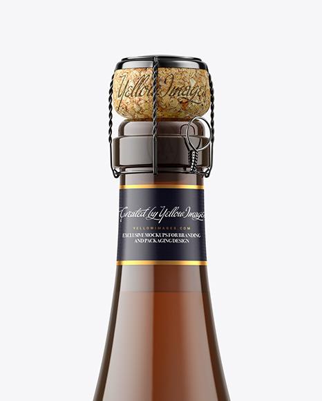 Amber Glass Bottle w/ White Wine Mockup