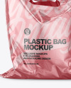 Metallic Plastic Carrier Bag Mockup