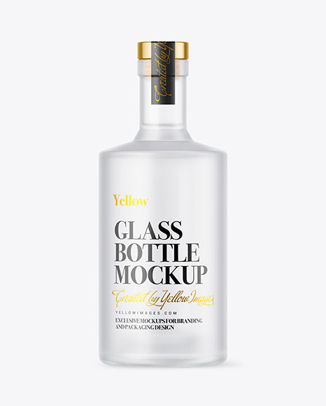 Frosted Glass Vodka Bottle with Wooden Cap Mockup