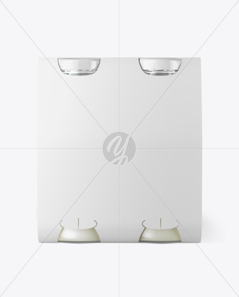 4 Bottles w/ Milk Pack Paper Carrier Mockup
