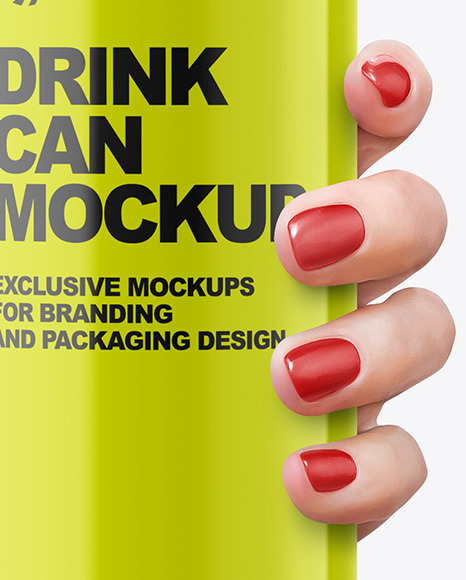Aluminium Can With Glossy Finish in a Hand Mockup