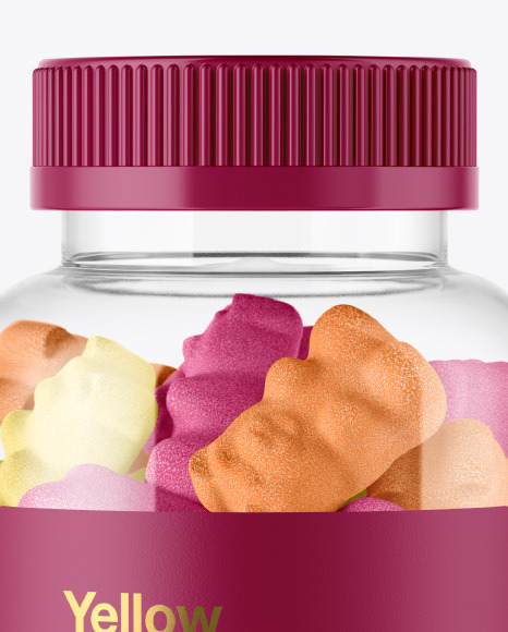 Plastic Bottle with Sugared Gummies Mockup