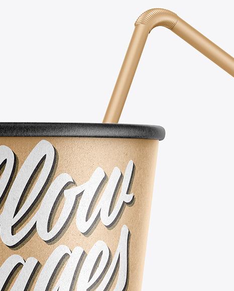 Kraft Paper Soda Cup w/ Straw Mockup