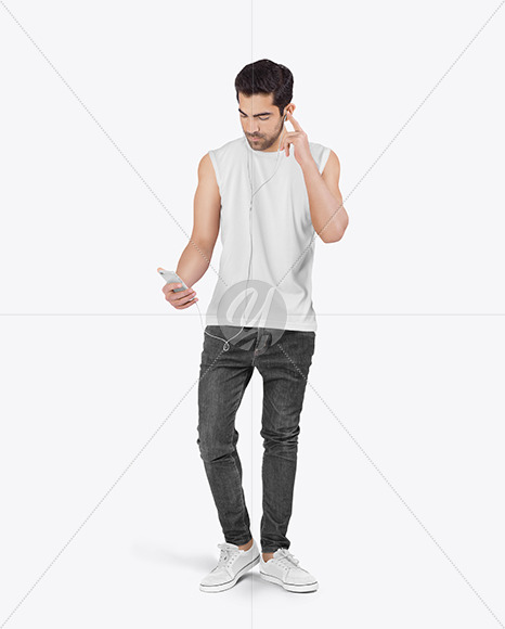 Man in Sleeveless Shirt Mockup