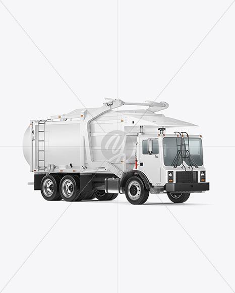 Garbage Truck Mockup - Half Side View - Yellowimages Mockups
