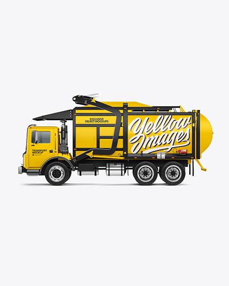 Garbage Truck Mockup - Side View