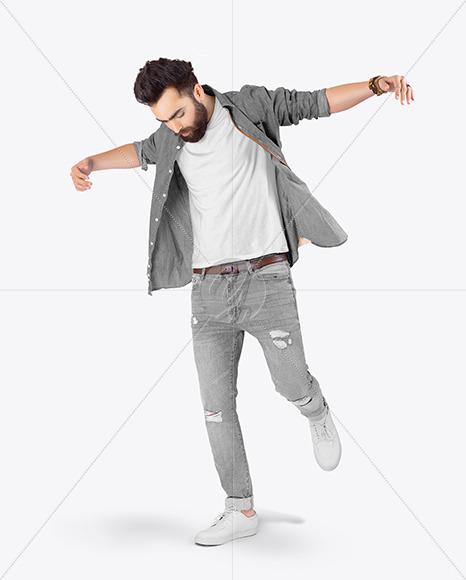 Man in T-Shirt & Denim Shirt Mockup