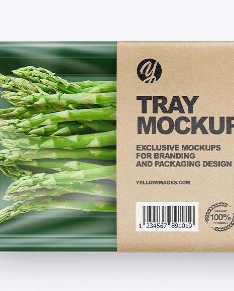 Plastic Tray W/ Asparagus Mockup