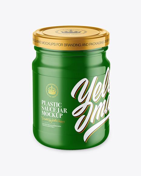 Glossy Plastic Sauce Jar Mockup