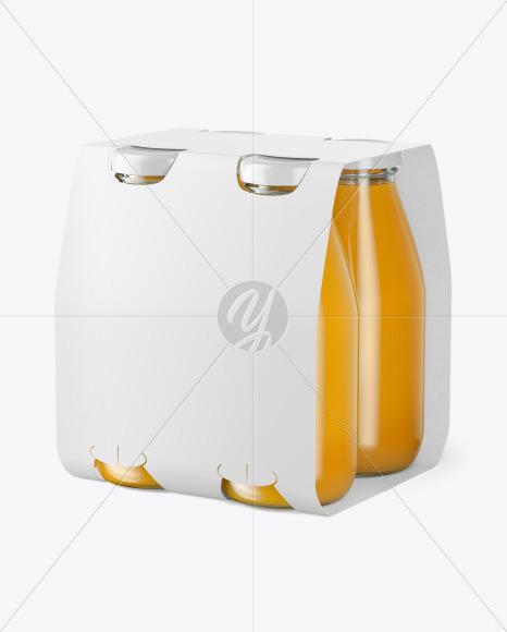 4 Bottles w/ Orange Juice Pack Paper Carrier Mockup
