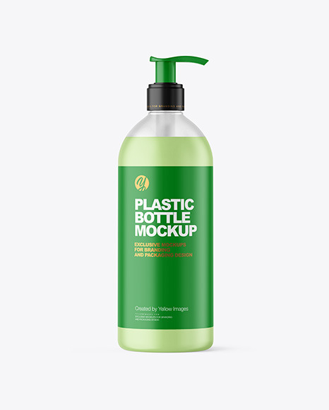 500ml Frosted Cosmetic Bottle with Pump Mockup