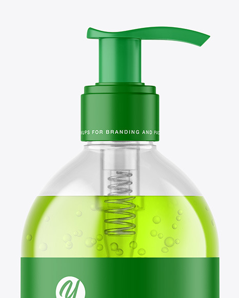 500ml Color Liquid Cosmetic Bottle with Pump Mockup