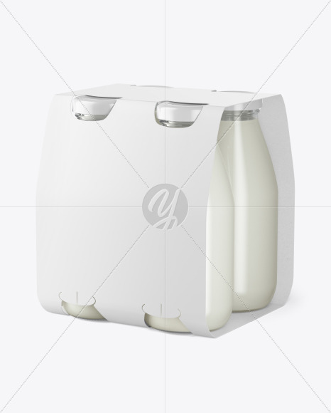 4 Bottles w/ Milk Pack Paper Carrier Mockup