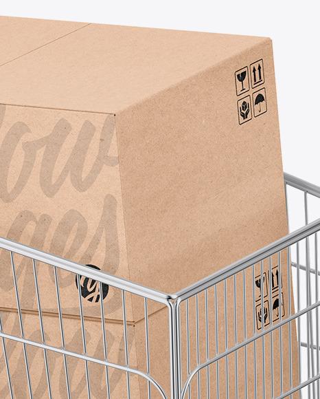 Shopping Cart W/ Kraft Boxes Mockup