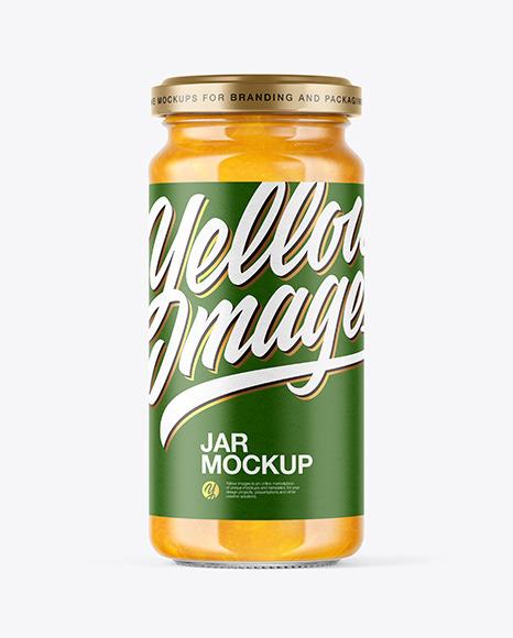 Clear Glass Jar with Mango jam Mockup