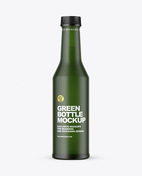Frosted Green Glass Bottle Mockup