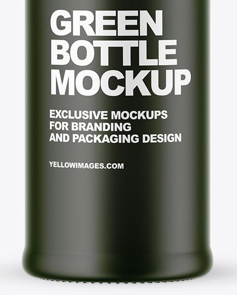 Frosted Green Glass Bottle w/ Dark Drink Mockup