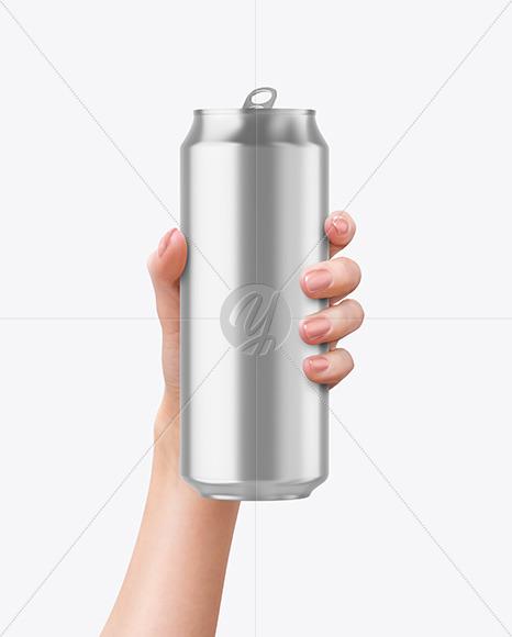 Aluminium Can in a Hand Mockup