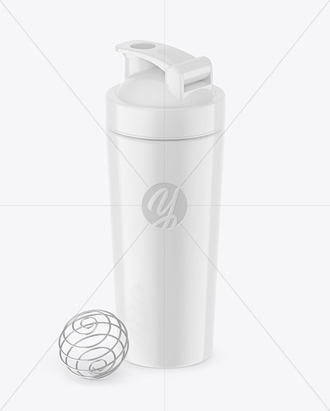 Glossy Shaker Bottle With Blender Ball Mockup