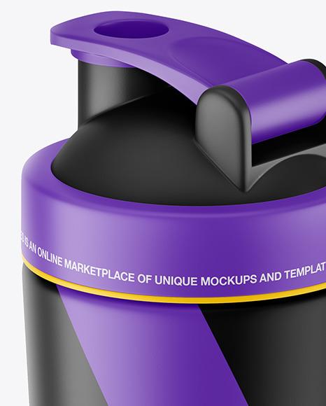 Matte Shaker Bottle With Blender Ball Mockup
